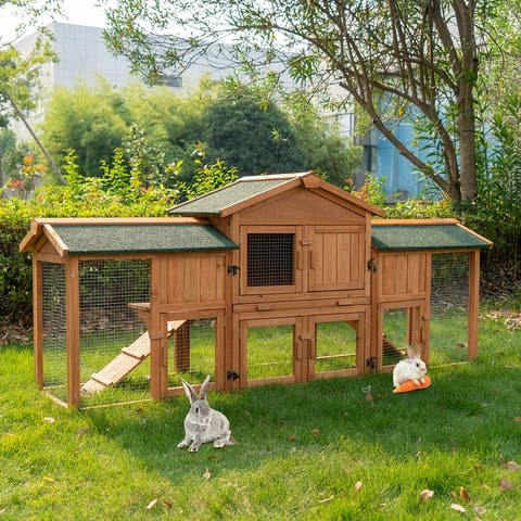 """Kinbor 74"""" Large Rabbit Hutch w/ 2 Runs, Rabbit Cage Indoor Outdoor Bunny Hutch, Pet House for Small Animals, Removable Tray"""