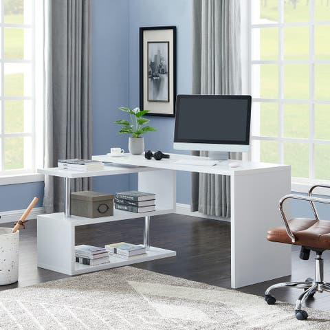 Contemporary Convertible L-shaped Corner Computer Office Desk 29.53'' H x 23.23'' W x 78.74'' D - White