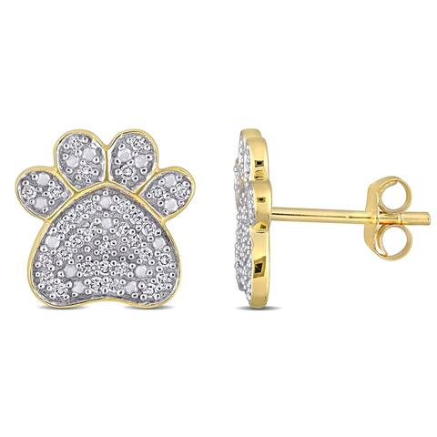 Miadora 10k Yellow Gold 1/5ct TDW Diamond Dog Paw Clustered Stud Earrings