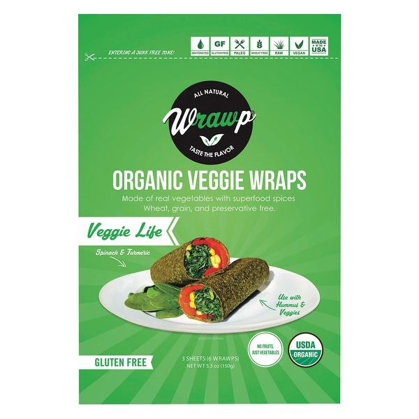 Warp Organic Veggie Flatbread - Veggie Life - Case of 8 - 4.2 oz.