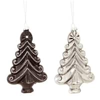 Club Pack of 12 Black and Silver Christmas Tree Shaped Glass Ornaments 5""