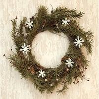 "Pine & Snowflakes Wreath - 20"""