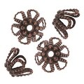 Antiqued Copper Beaded Openwork Flower Bead Caps 7mm (50) - Thumbnail 0