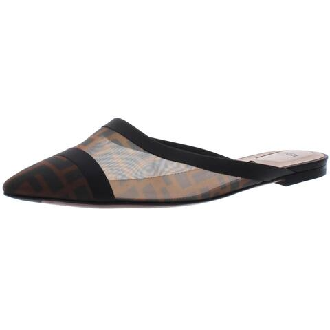 Fendi Womens Sabot Mules Logo Pointed Toe - Dark Brown Tobacco/Black