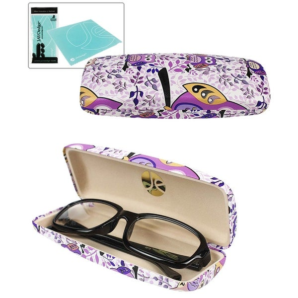 JAVOedge Owl Hard Eyeglass Case with Soft Inner Lining - Purple