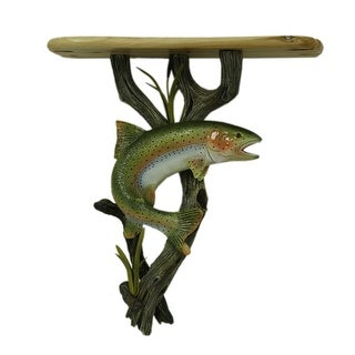 Rainbow Trout Wooden Wall Shelf With Wine Bottle and Glass Holder