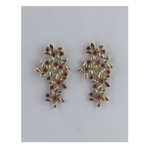Long Floral Earring Studs W/Color Rhinestones - Color - Fuchsia