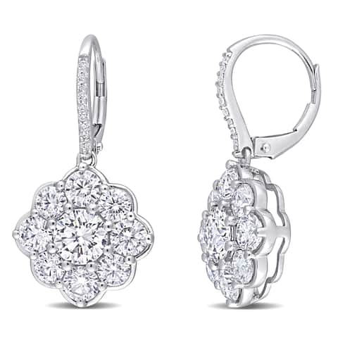 Miadora 10k White Gold Created Moissanite Halo Floral Drop Leverback Earrings - 28.9 mm x 15.2 mm x 11.8 mm