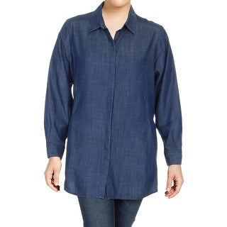 Foxcroft Womens Plus Shirtdress Cuffed Sleeves Button-Down - 16W