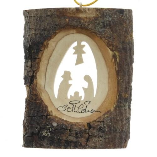 Bark Olive Wood Nativity Ornament