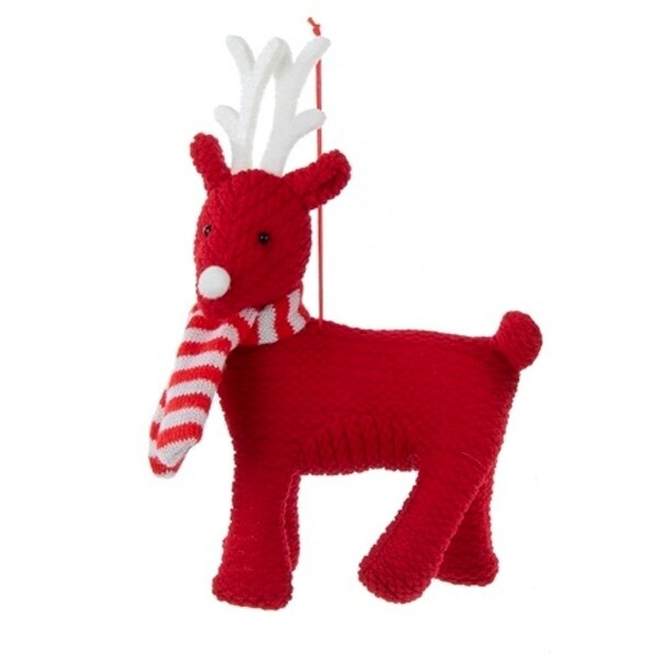"""7.5"""" Alpine Chic Red and White Reindeer Decorative Christmas Ornament"""