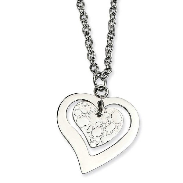 Chisel Stainless Steel Heart with Extender Necklace 18 Inches (3 mm) - 18 in