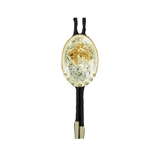 Crumrine Western Bolo Neck Tie Mens Oval Horsehead Silver Gold - silver gold - One size
