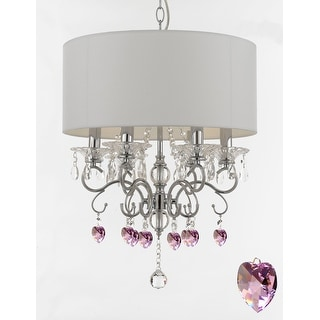 Silver Mist Crystal Drum Shade Chandelier Lighting with Pink Crystal Hearts