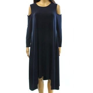 Alfani NEW Blue Cold Shoulder Women's Size 12 Asymmetrical Hem Dress