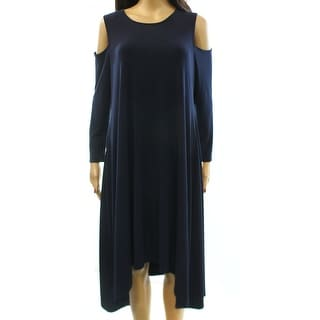 Alfani NEW Blue Women's Size 10 Cold Shoulder High Low Shift Dress