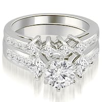 18kt White Gold 3.10 CT.TW Channel Set Princess and Round Cut Diamond Bridal Set HI, SI1-2