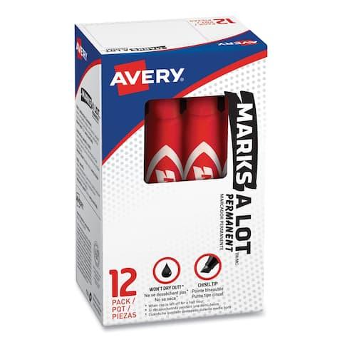 MARKS A LOT Regular Desk-Style Permanent Marker, Broad Chisel Tip, Red, Dozen, (7887) - Red