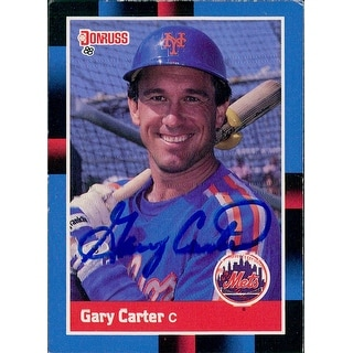 Signed Carter Gary New York Mets 1987 Leaf Baseball Card autographed