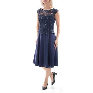 ADRIANNA PAPELL $289 New 1513 Navy Sequined Cap Sleeve Dress 20W B+B