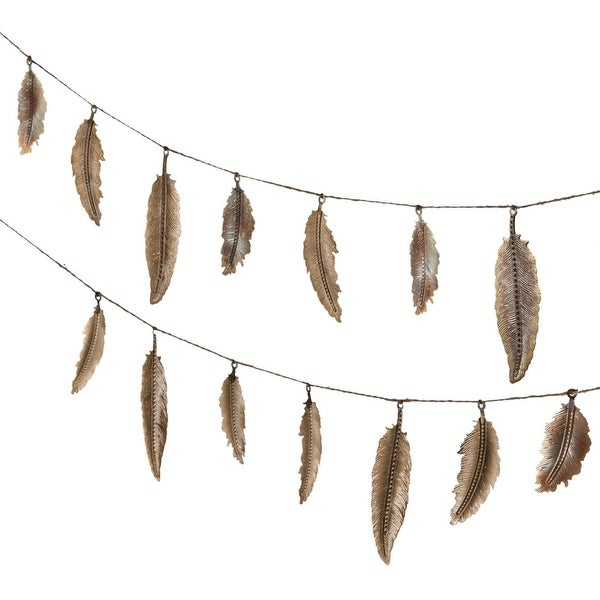 Set of 4 Gold Stamped Feather Metalic Finished Decorative Garland 72""