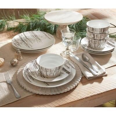 222 Fifth Snow Forest 12 Piece Dinnerware Set, Grey