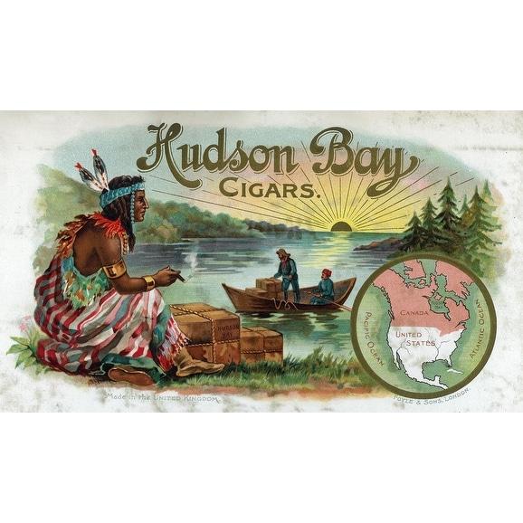 Hudson Bay Cigar - Native American - Vintage Label (Acrylic Wall Clock) - acrylic wall clock