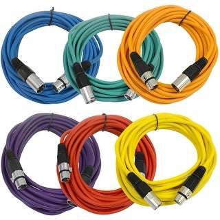 SEISMIC AUDIO (6 PACK) 25' XLR Microphone Cables Color
