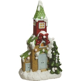 """21.25"""" Christmas Morning Pre-Lit LED Snow Covered House Decorative Christmas Tabletop Figure"""