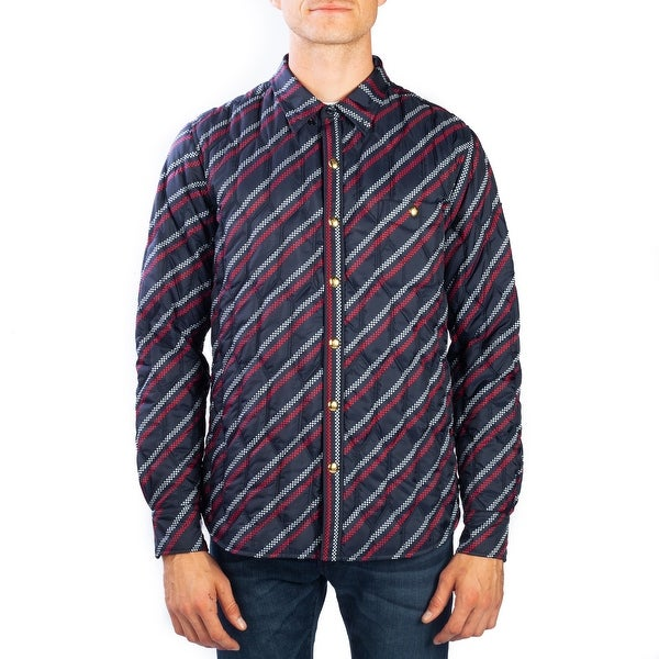 948624132 Shop Moncler Men's Polyester Checkered Stripe Down Jacket Navy Blue ...