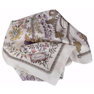 Gucci Women's 303156 White Beige Floral Fani Silk Twill Square Neck Scarf