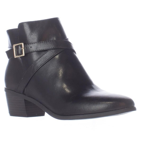KS35 Flynne Block-Heel Buckle Ankle Boots, Black