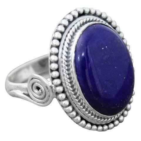 NOVICA Handmade Sterling Silver 'Royal Blue Glow' Lapis Lazuli Ring (India)