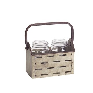 Set of 3 Rustic Decorative Metal Jar Holder with Over Sized Handle 7L x 5.5
