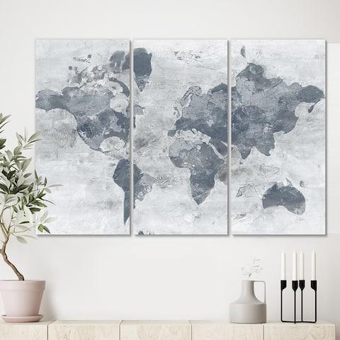 Designart 'Golden Grey World Neutral' Traditional Canvas Art