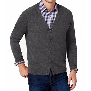 Weatherproof Gray Mens Size Medium M Ribbed Cardigan Sweater