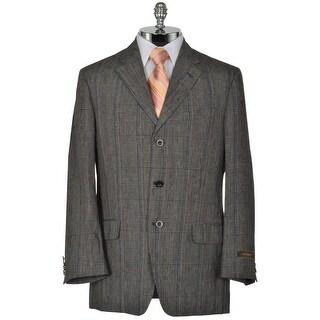 JOSEPH ABBOUD Linen Blend Black Windowpane Sportcoat Medium M Jacket