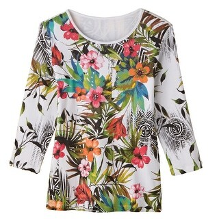 Women's Tunic Top - Wildflower Market Bright Floral Print on White