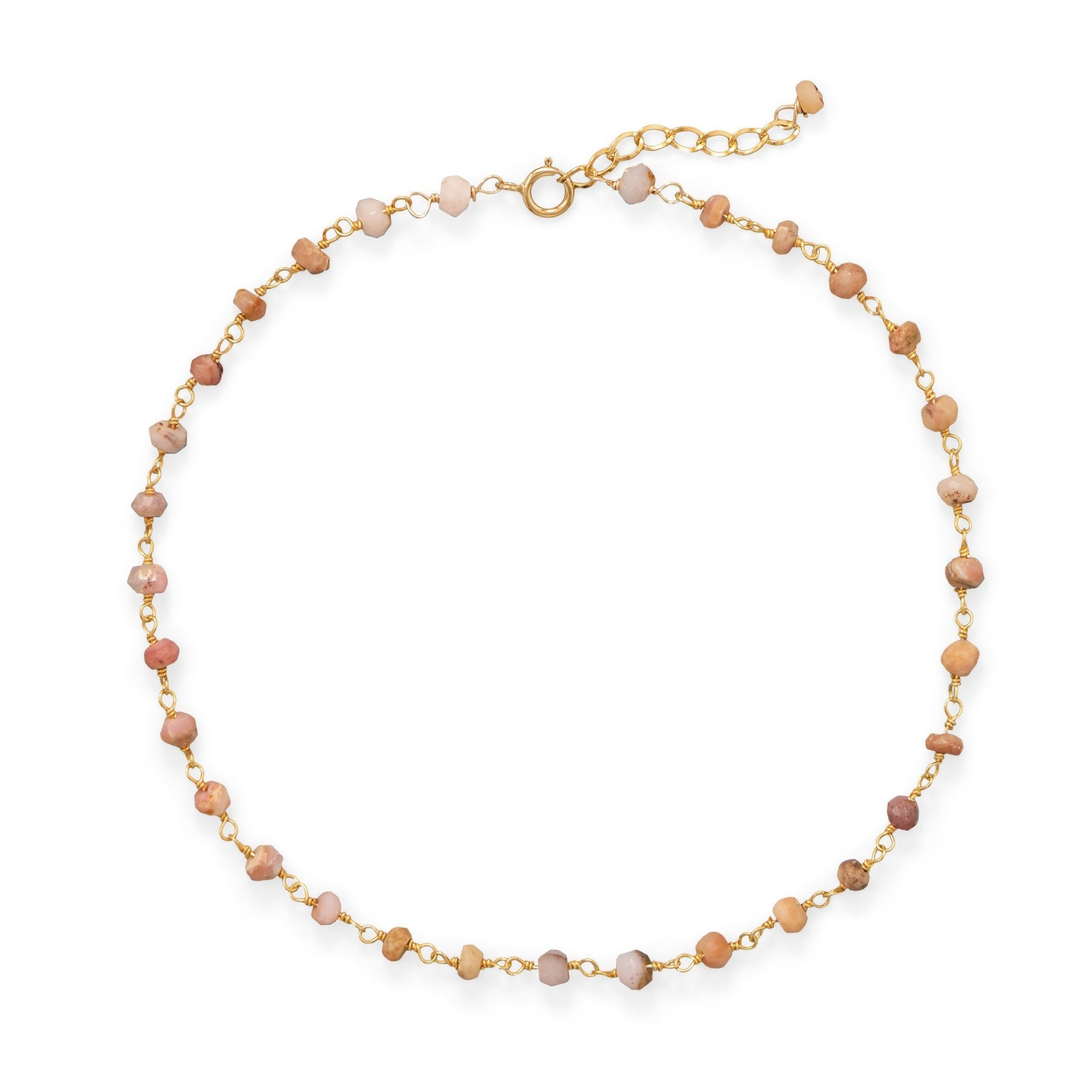 Two Year Warranty Gold Overlay with Multicolored Stones 10 Inch Link Chain Anklet