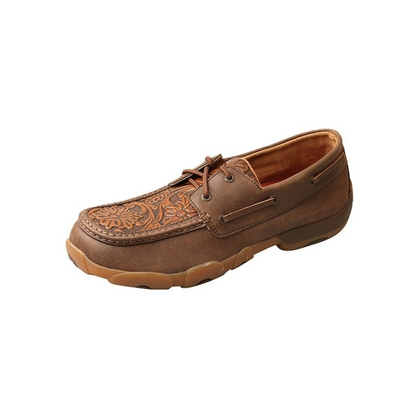 Twisted X Casual Shoes Mens Mocs Rubber Sole Tooled Tan Tawny