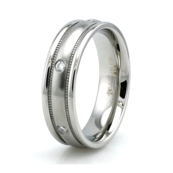 Stainless Steel Done Satin Finish Grain Grooved Edge Cubic Zirconia Ring