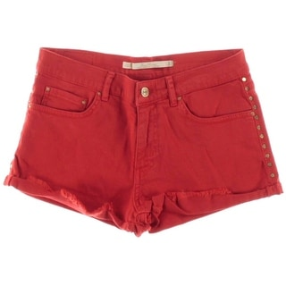 Zara Womens Twill Studded Cutoff Shorts