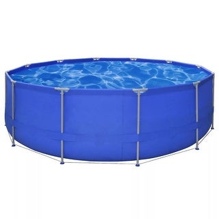 vidaXL Above Ground Swimming Pool Steel Frame Round 15' x 4'