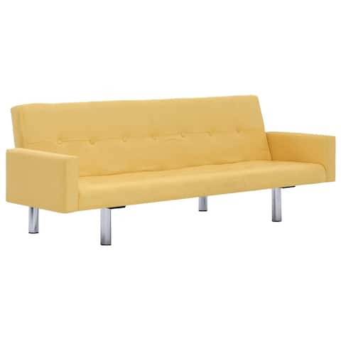 vidaXL Sofa Bed with Armrest Yellow Polyester