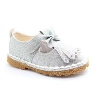 11660fa3 Shop Bella Marie Little Girls Silver Glitter Bow Block Low Heel ...