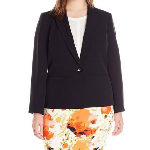 Kasper Women's Jacket Jet Black Size 20W Plus Crepe Single Button