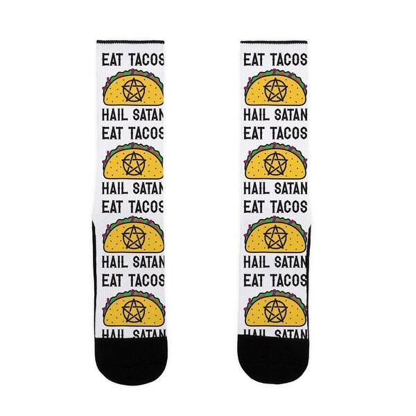 LookHUMAN Eat Tacos Hail Satan US Size 7-13 Socks