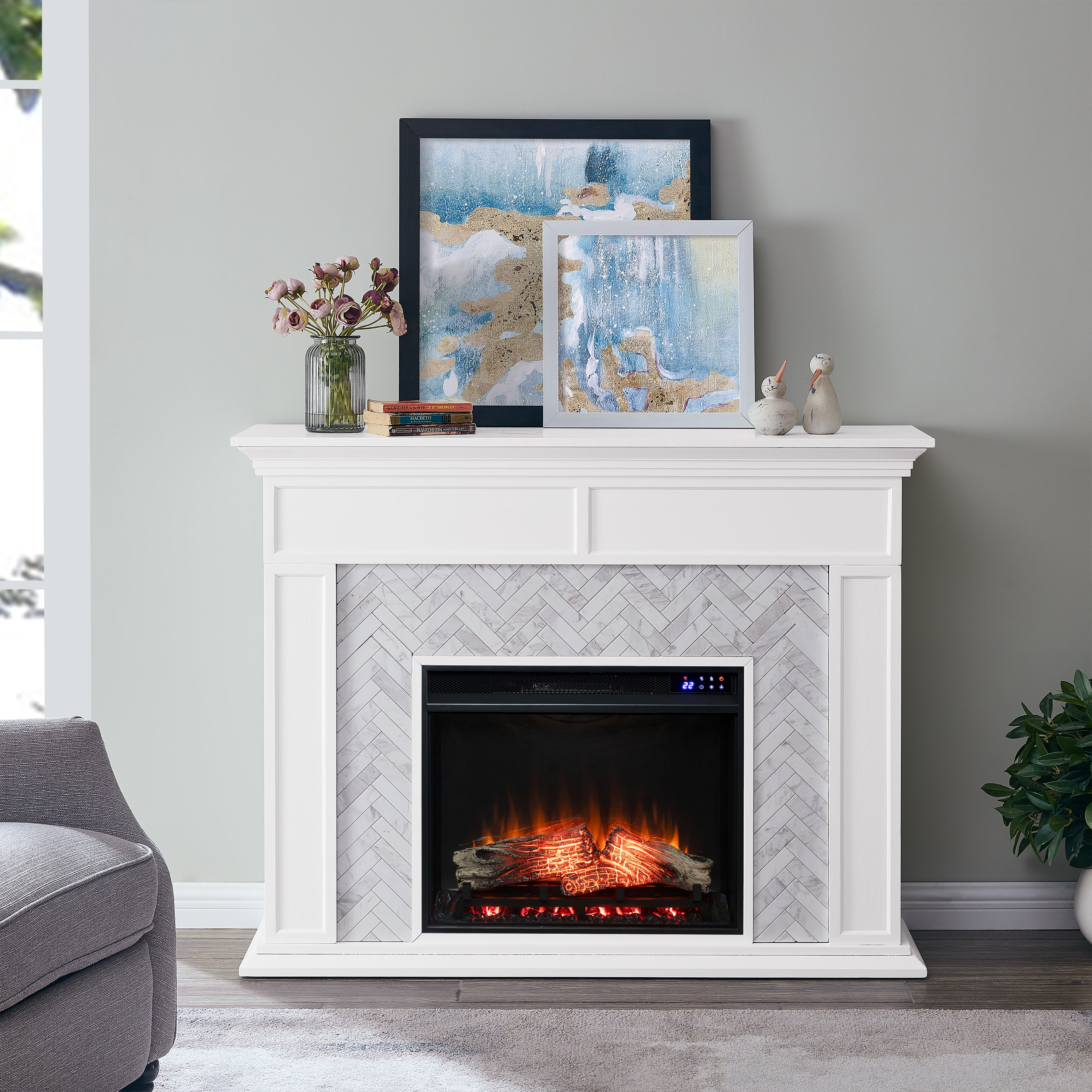 Torton Contemporary White Wood Electric Fireplace On Sale Overstock 29236304