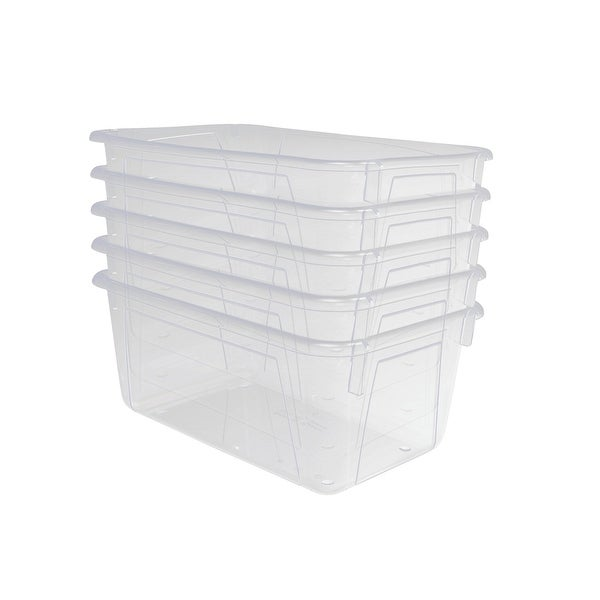 School Smart Stackable Storage Totes, 12 x 8 x 5 Inches, Translucent, Pack of 5