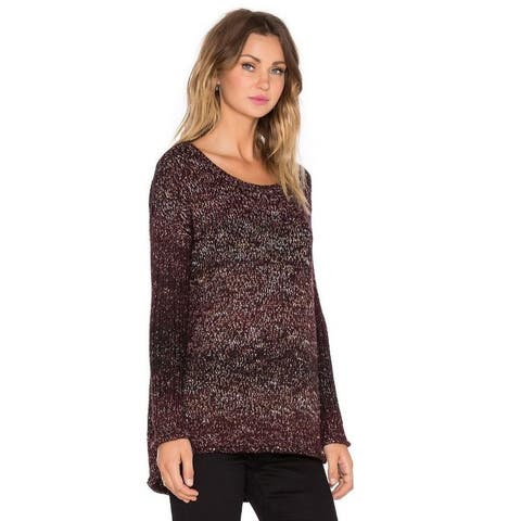 Sanctuary Womens Raw Hem Marled Pullover Sweater Purple XL - Mulberry - X-Large